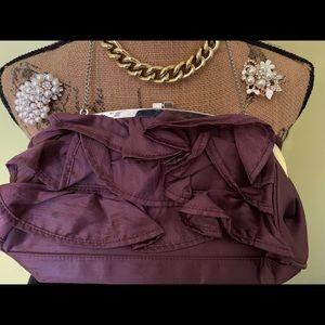 Silk ruffle handbag w/ chrome hardware